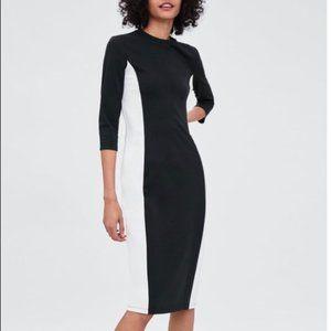 Zara Black & White Bodycon Midi Dress